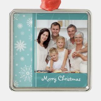 Ornamento de las Felices Navidad de la foto de fam Ornatos