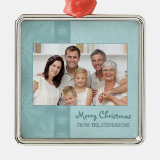 Ornamento de las Felices Navidad de la foto de fam Adorno