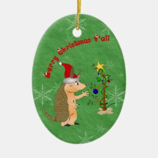 Ornamento de las Felices Navidad del armadillo Adorno Ovalado De Cerámica