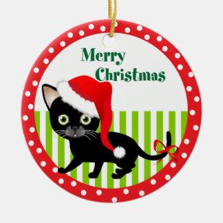 Ornamento de las Felices Navidad del gatito Adorno Redondo De Cerámica