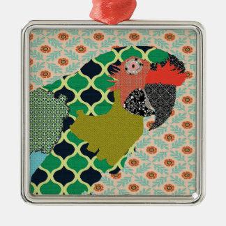 Ornamento de las Felices Navidad del Macaw de Adorno Navideño Cuadrado De Metal