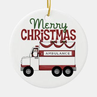 Ornamento de las Felices Navidad EMT Adorno Redondo De Cerámica