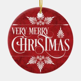 Ornamento de las Felices Navidad muy Adorno Redondo De Cerámica