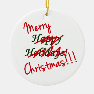 Ornamento de las Felices Navidad no buenas fiestas Adorno Redondo De Cerámica