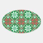 Ornamento de las Felices Navidad Calcomania De Óval Personalizadas