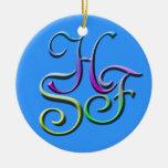 Ornamento de las iniciales HSF Ornamento De Reyes Magos