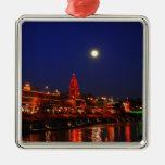 Ornamento de las luces de navidad de la plaza adorno cuadrado plateado