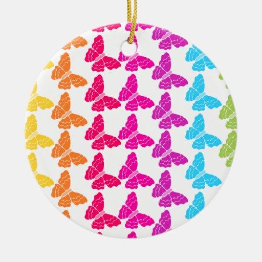 Ornamento de las mariposas del arco iris adorno navideño redondo de cerámica