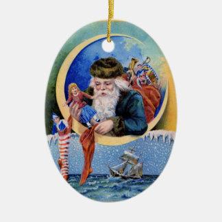 Ornamento de las medias del juguete del navidad de adorno ovalado de cerámica