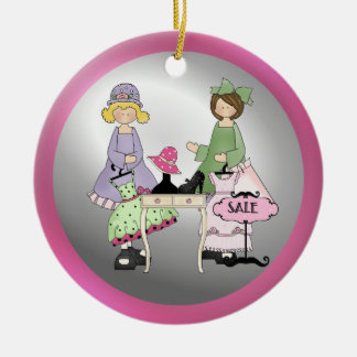 Ornamento de las memorias de las compras de la adorno navideño redondo de cerámica