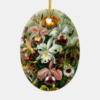 Ornamento de las orquídeas adorno ovalado de cerámica