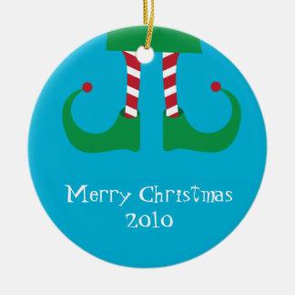 Ornamento de las piernas del duende del navidad adorno navideño redondo de cerámica