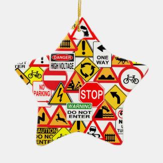 ¡Ornamento de las señales de tráfico - Adorno Navideño De Cerámica En Forma De Estrella