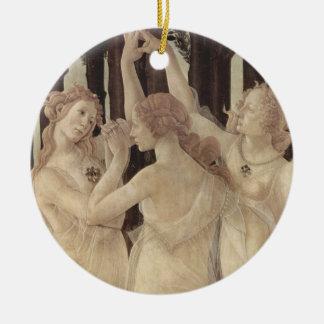 Ornamento de las tolerancias de Botticelli tres Adorno Navideño Redondo De Cerámica