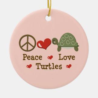 Ornamento de las tortugas del amor de la paz ornamento para arbol de navidad