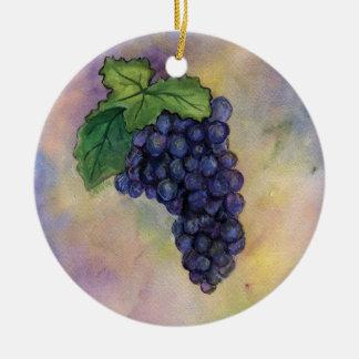 Ornamento de las uvas de vino del pinot negro adorno navideño redondo de cerámica