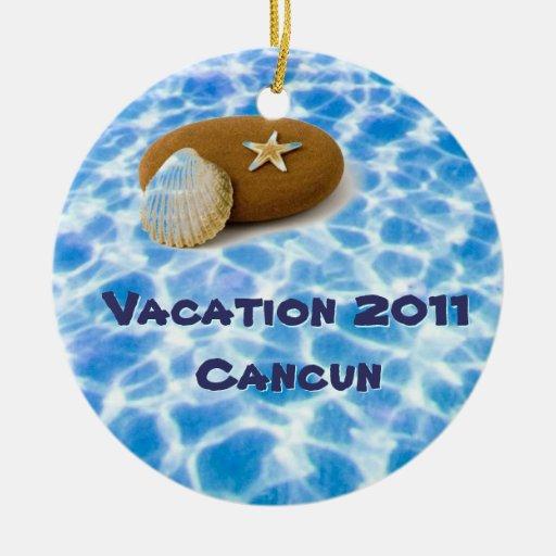 Ornamento de las vacaciones adorno navideño redondo de cerámica