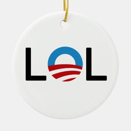 Ornamento de LOL Obama Adorno Navideño Redondo De Cerámica