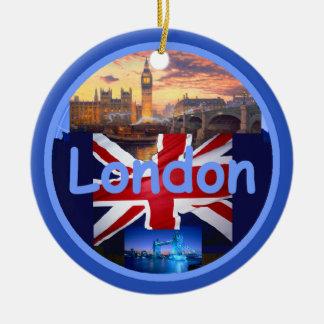 Ornamento de LONDRES Adorno Navideño Redondo De Cerámica
