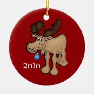 Ornamento de los alces del navidad adorno redondo de cerámica