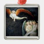 Ornamento de los ángeles adorno cuadrado plateado