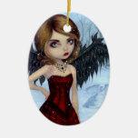"""""""Ornamento de los ángeles de la nieve"""" Adorno Ovalado De Cerámica"""