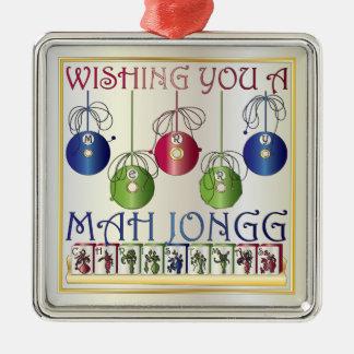 Ornamento de los apostantes del navidad del Mah Adorno Navideño Cuadrado De Metal