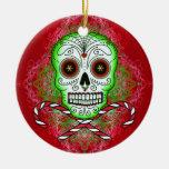 Ornamento de los bastones del cráneo y de caramelo ornaments para arbol de navidad