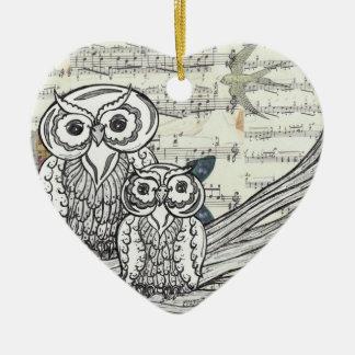 Ornamento de los búhos 22 adorno navideño de cerámica en forma de corazón