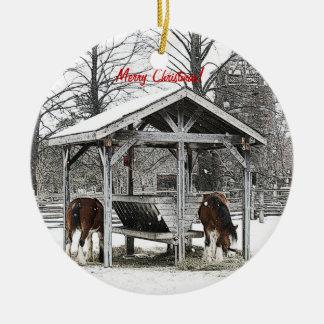 Ornamento de los caballos del navidad adorno navideño redondo de cerámica