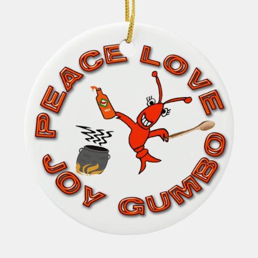 Ornamento de los cangrejos del Gumbo/de la flor de Adorno Navideño Redondo De Cerámica
