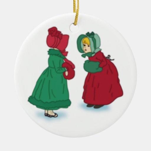 Ornamento de los chicas del vintage del navidad adorno navideño redondo de cerámica