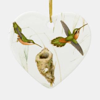Ornamento de los colibríes de Goulds Adorno Navideño De Cerámica En Forma De Corazón