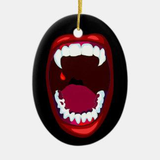 Ornamento de los colmillos de los dientes del adorno navideño ovalado de cerámica