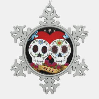 Ornamento de los cráneos del amor (copo de nieve o
