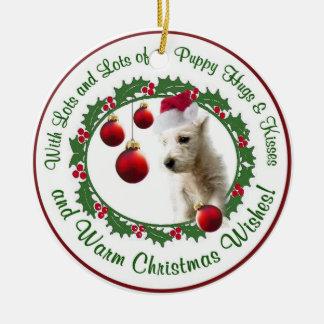 Ornamento de los deseos del navidad de Westie Adorno