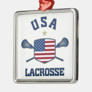 Ornamento de los E.E.U.U. LaCrosse Adorno Navideño Cuadrado De Metal