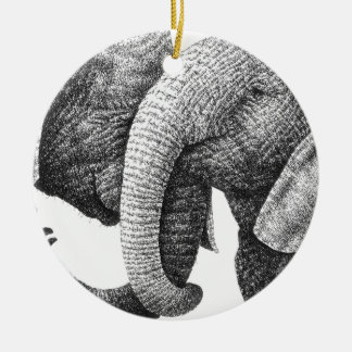 Ornamento de los elefantes africanos adorno navideño redondo de cerámica