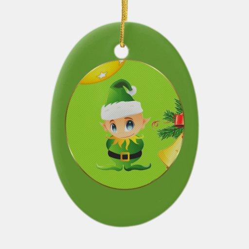 Ornamento de los elementos del navidad adorno ovalado de cerámica