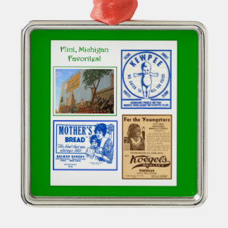 ornamento de los favoritos del pedernal adorno navideño cuadrado de metal