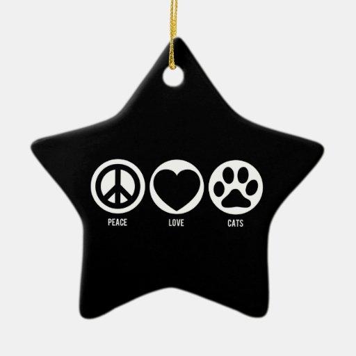 Ornamento de los gatos del amor de la paz adornos de navidad