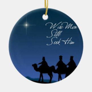 Ornamento de los hombres sabios adorno navideño redondo de cerámica