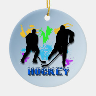 Ornamento de los jugadores de hockey adorno navideño redondo de cerámica