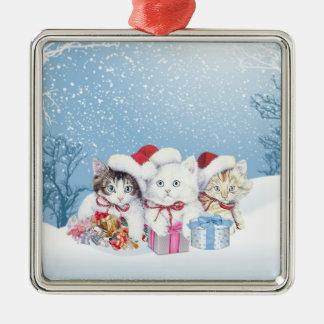Ornamento de los kittems de Santa del navidad Adorno Navideño Cuadrado De Metal