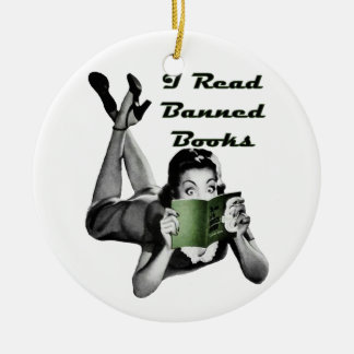 Ornamento de los libros prohibidos adorno navideño redondo de cerámica