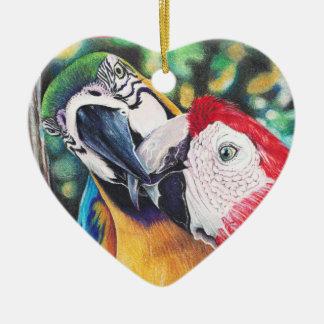 Ornamento de los Macaws Adorno De Cerámica En Forma De Corazón