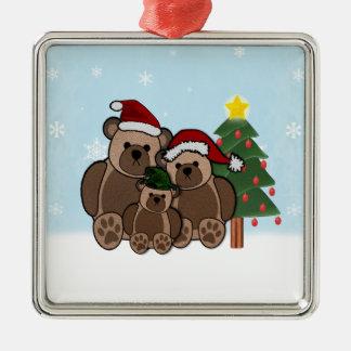 Ornamento de los osos de peluche adorno navideño cuadrado de metal