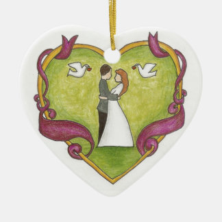 Ornamento de los pares del corazón del boda adorno de cerámica en forma de corazón