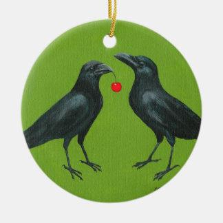 ornamento de los pares w/cherry del cuervo adorno navideño redondo de cerámica
