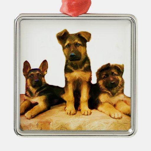Ornamento de los perritos del pastor alemán ornamento de reyes magos